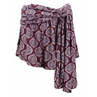 Free People Women's Printed Crepe Wrap Shorts - eggplant