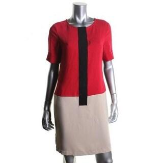 Calvin Klein Womens Colorblock Knee-Length Wear to Work Dress - 8