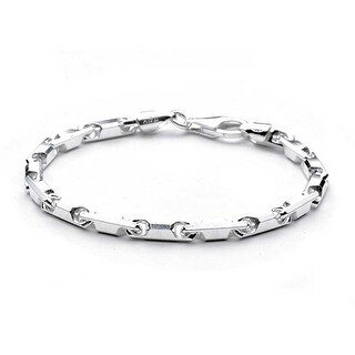 Bling Jewelry Sterling Silver Bracelet 18 Gauge Barrel Links Chain 8in