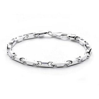 Mechanic Barrel Link Bracelet For Men For Women Solid Polished 925 Sterling Silver Made In Italy
