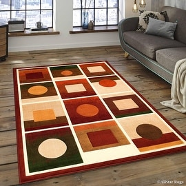 "Allstar Red Modern Formal Area Rug (3' 9"" x 5' 1"")"