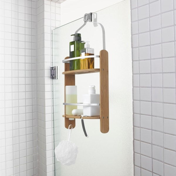 """Umbra 1005787 Barrel 25 1/4"""" Tall Bamboo Shower Caddy with Two Shelves and Loofah Hook by Anthony Keeler - Natural"""