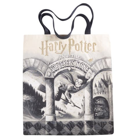 OUT OF PRINT Women's Harry Potter Book Cover Canvas Tote Bag, Sorcerer's Stone - Sorcerers Stone - One size