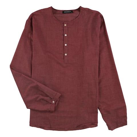 Incerun Mens Woven Henley Shirt, Red, XXXX-Large