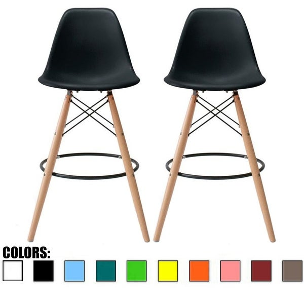 """2xhome Set of 2 Modern 28"""" Color Seat Height DSW Molded Armless Plastic Counter Bar Stool Natural Wood Eiffel Dowel Legs Kitchen. Opens flyout."""