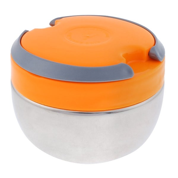 Unique Bargains Plastic Hand Carry Design Round Heat Preservation Food Lunch Box 900ml