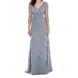 Decode 1.8 Gray Women Size 14 Mesh-Yoke Embroidered Tiered Sheath Dress