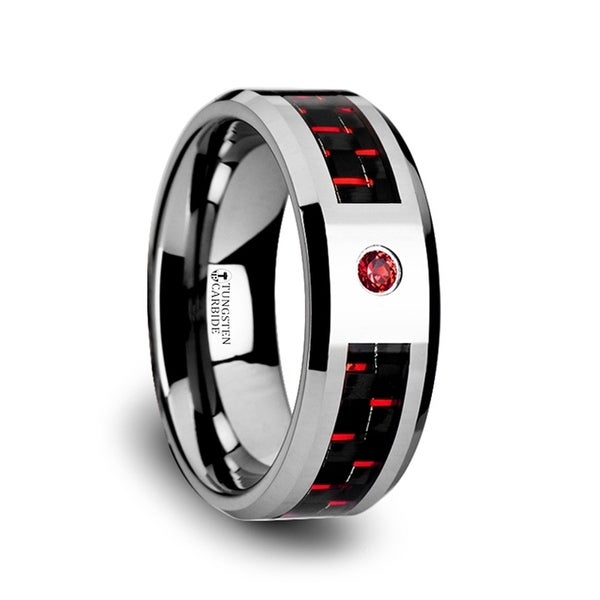 Adrian Tungsten Carbide Ring With Black And Red Carbon Fiber And Red Ruby Setting With Bevels
