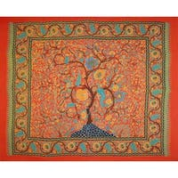 Handmade 100% Cotton Tree of Life Tapestry Tablecloth Spread Full 88x104 Red