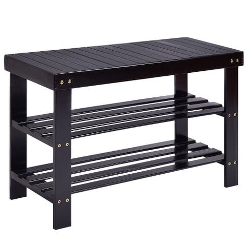 "Costway 3 Tier Bamboo Shoe Rack Bench Storage Shelf Organizer Entryway - 28.0""X11.0""X18.0"""