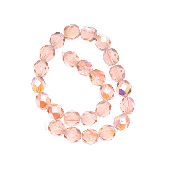 Czech Fire Polished Glass Beads 6mm Round 'Rosaline AB' (25)