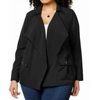 NY Collection Black Womens Size 1X Plus Flyaway Dual Pocket Jacket