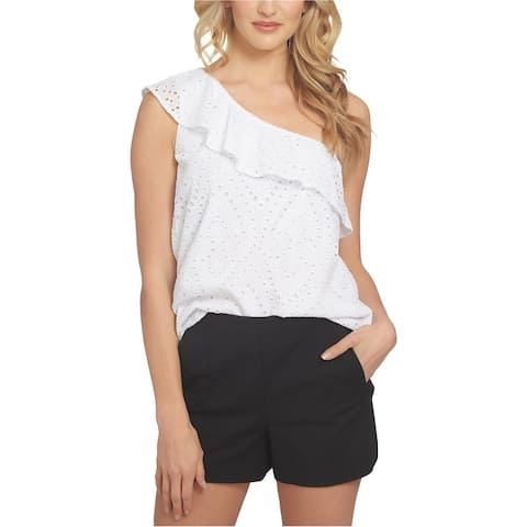 1.STATE Womens Eyelet One Shoulder Blouse, white, Large