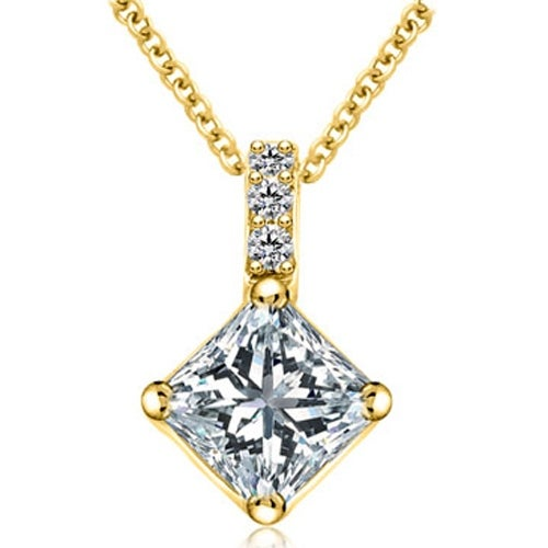 0.78 cttw. 14K Yellow Gold Round and Princess Diamond Basket Solitaire Pendant