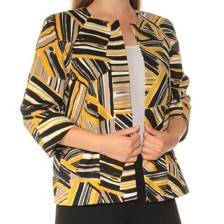 Womens Yellow Printed Long Sleeve Open Cardigan Wear To Work Top Size 8