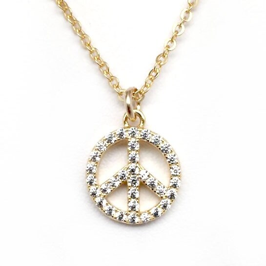 "Julieta Jewelry CZ Peace Sign Gold Charm 16"" Necklace"