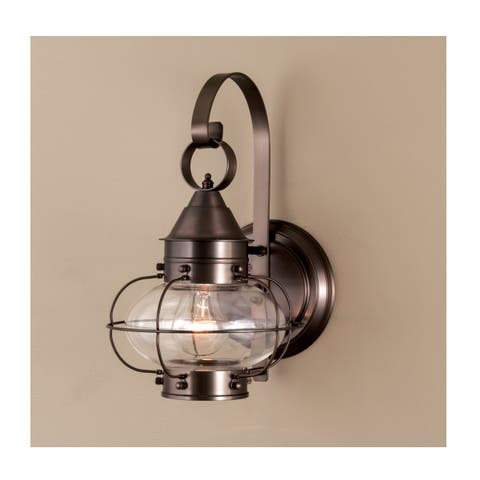 """Norwell Lighting 1323 Cottage Onion Single Light 14"""" Tall Outdoor Wall Sconce with Clear Glass Shade"""