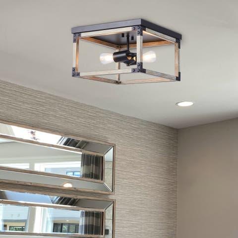 CO-Z 2-Light Modern Industrial Caged Flush Mount Ceiling Light