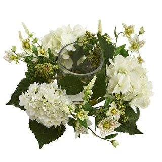 Nearly Natural Holiday Decor Hydrangea Artificial Arrangement Candelabrum