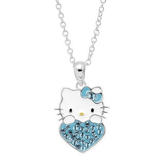 Girl's Hello Kitty March Heart Pendant with Crystals in Sterling Silver-Plated Brass - Blue