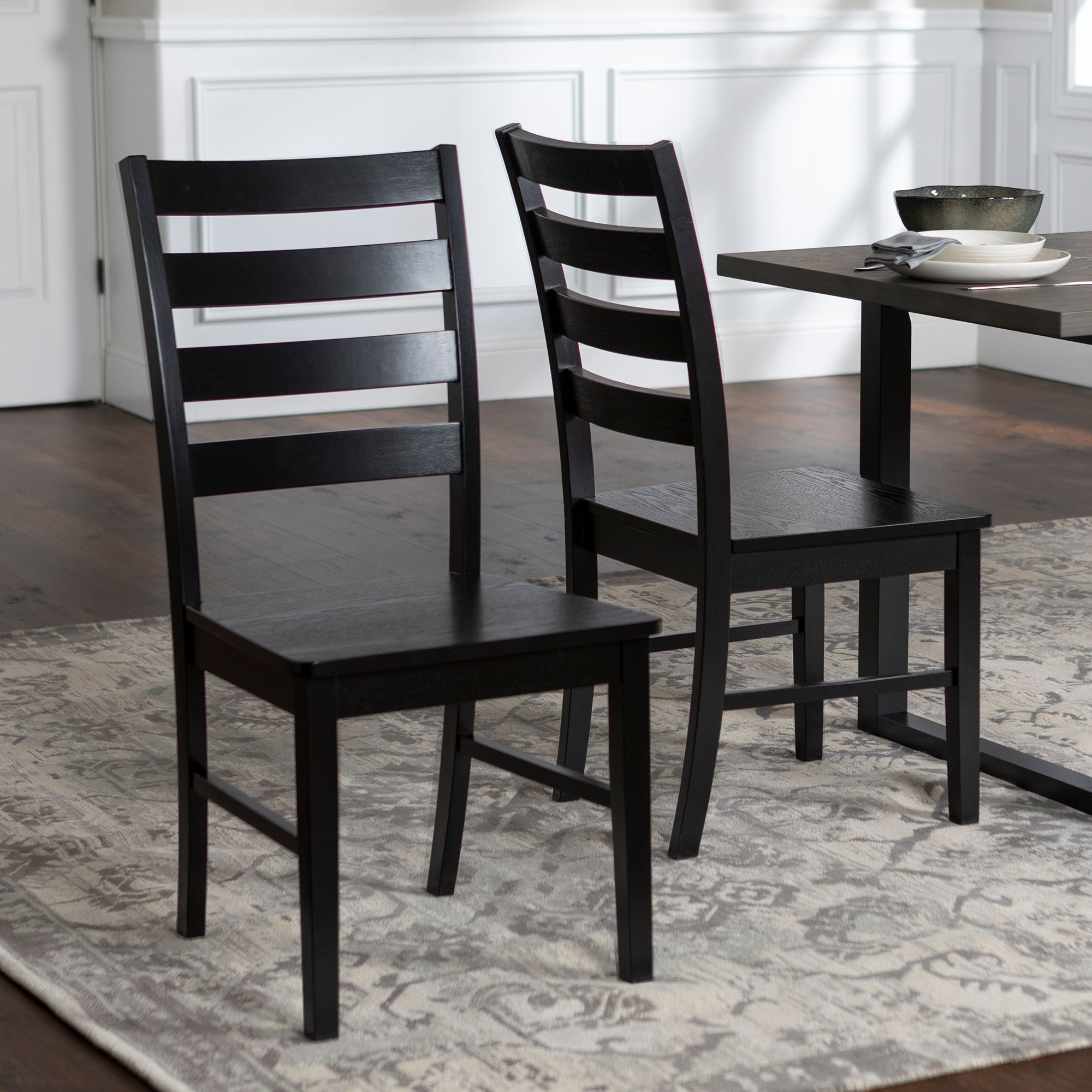 Wood Ladder Back Dining Side Chairs Set Of 2 On Sale Overstock 17181588 Black