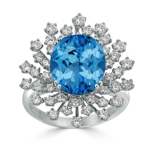 Auriya 4 3/4ct Fancy Oval Swiss Blue Topaz Halo Diamond Engagement Ring 1ctw 18K Gold