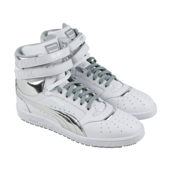 01acd9755dd4 Puma Sky Ii Hi Fg Foil Mens White Leather High Top Lace Up Sneakers Shoes