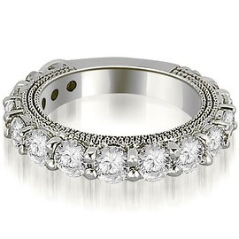 1.90 cttw. 14K White Gold Antique Round Cut Diamond Wedding Band