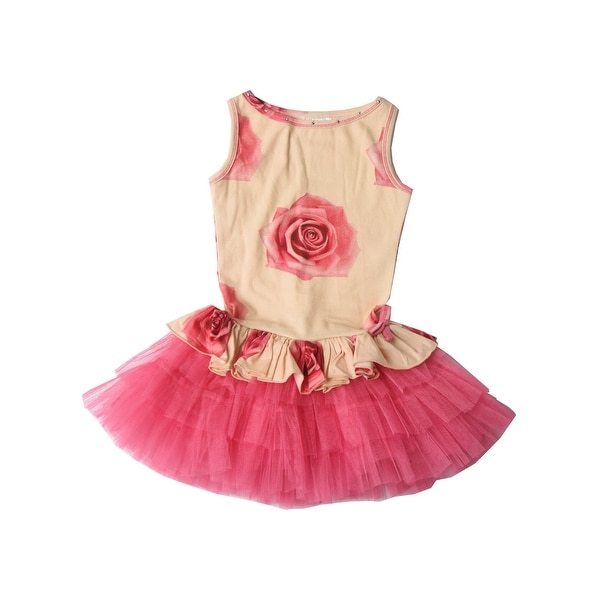 09f780c678 Shop Ooh! La, La! Couture Little Girls Candy Pink Floral Print Peplum Dress  - Free Shipping Today - Overstock - 21610806