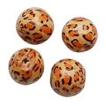 Round Wood Beads Natural Beige With Leopard Print 19.5mm (4) - Thumbnail 0