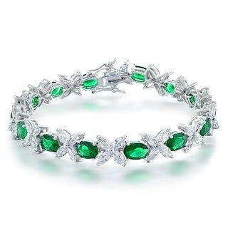 Bling Jewelry Green CZ Marquise Tennis Bracelet Rhodium Plated