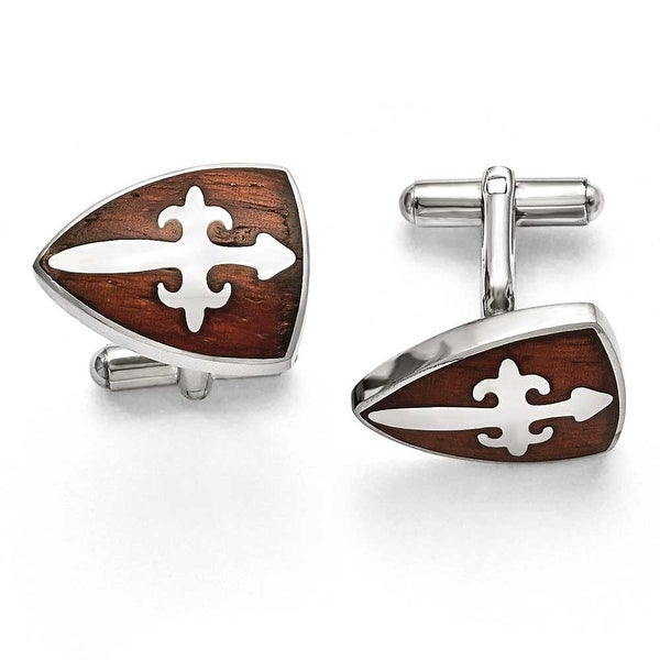 Chisel Stainless Steel Polished & Wood Inlay Cuff Links