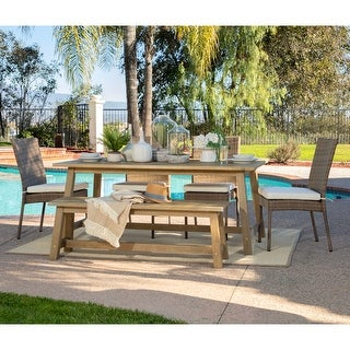 Link to Oarcha 6-pc. Eucalyptus Rectangular Outdoor Dining Set by Havenside Home Similar Items in Patio Furniture
