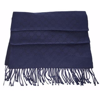Gucci Men's 370249 Blue Jacquard Wool GG Guccissima Scarf Muffler