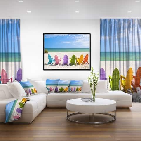 Designart 'Adirondack Beach Chairs' Seashore Photo Framed Canvas Art Print