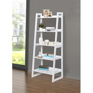 Link to Kingsley 5-shelf Ladder Wooden Bookcase Similar Items in Living Room Furniture