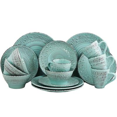 Elama Ocean Waves Turquoise 16-piece Dinnerware Set