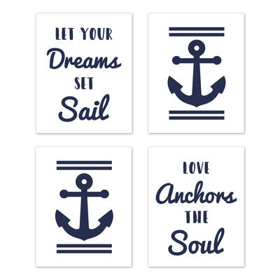 Navy and White Anchors Collection Wall Decor Art Prints (Set of 4) - Blue Nautical Sailor