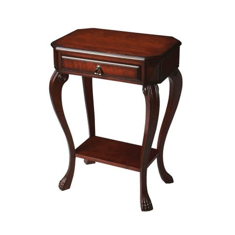Channing Traditional Solid Wood Plantation Cherry Console Table - Dark Brown