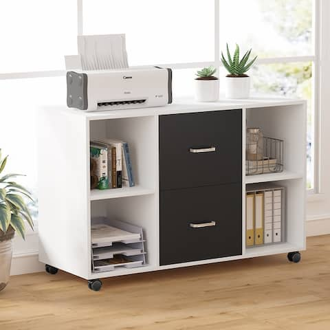 Mobile Lateral File Cabinet with 2 Drawers, Filing Cabinet Printer Stand