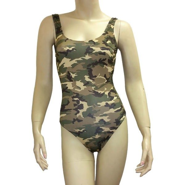 Women's Camo Bikini 1-Piece Swimsuit Green Military Beach Swimwear Hunting