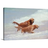 Premium Thick-Wrap Canvas entitled Two Golden Retrievers in the surf in Hawaii - Multi-color
