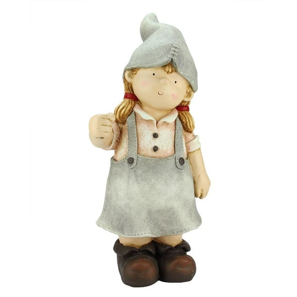 "21.25"" Standing Young Girl Gnome Outdoor Patio Garden Statue"