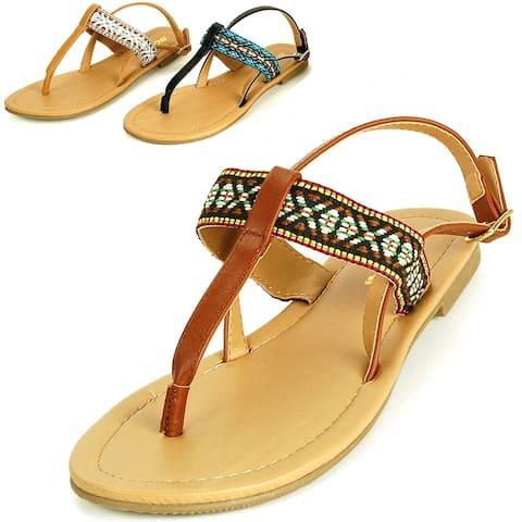 Soda Womens Model T-Strap Sandal Slingback Thong Boho Flats