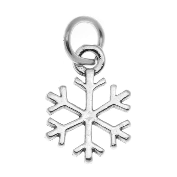 Sterling Silver Antiqued Snowflake Charm Winter Christmas 15mm