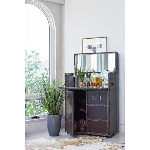Memphis Dark Brown Upholstered Bar Cabinet with Casters