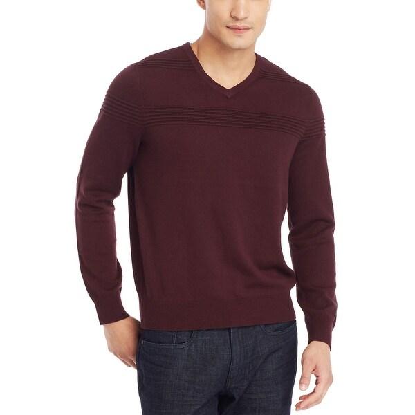 Kenneth Cole Reaction Textured V-Neck Sweater Merlot Burgundy