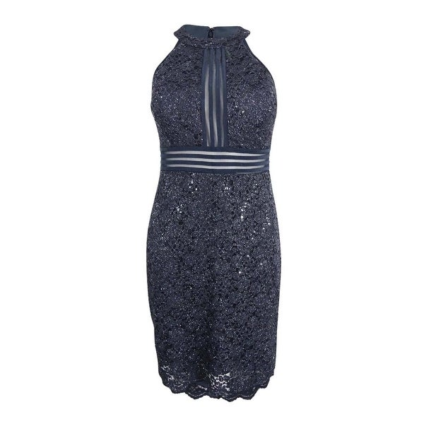 b922217c5445d Nightway Women's Petite Glittered Illusion Halter Dress - charcoal