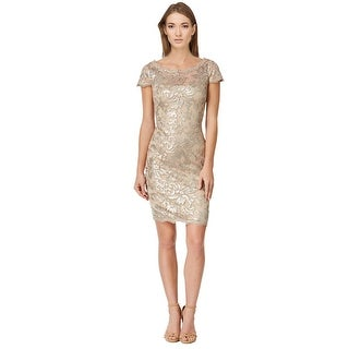 Calvin Klein Sequined Lace Illusion Sheath Cocktail Dress - 12