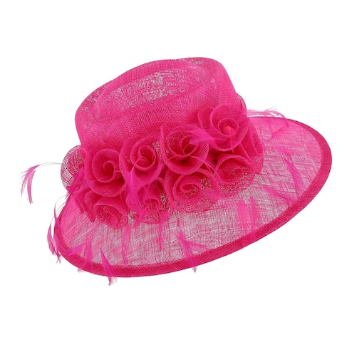 Angela & William Women's Sinamay Fascinator Hat with Flowers and Feather Trim